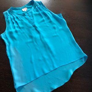 Parker Turquoise Sleeveless Silk Blouse